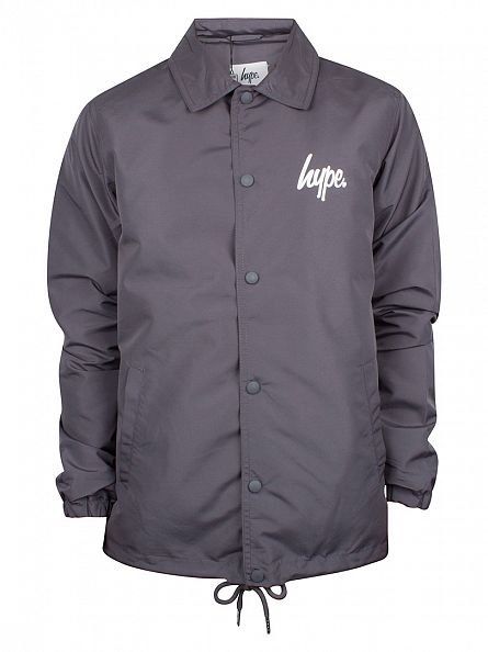 Hype Charcoal Script Logo Coach Button Jacket
