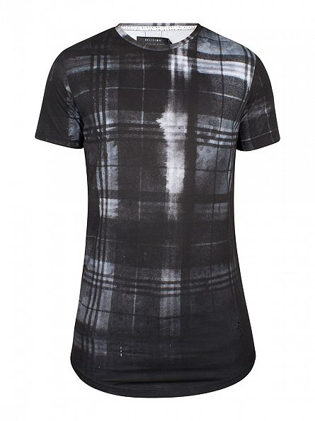 Religion Black Checker Fade Sublimation Curved Hem T-Shirt