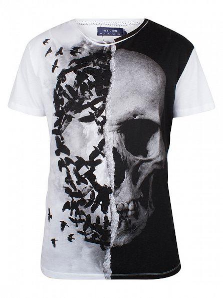 Religion White Skull Crown Graphic T-Shirt