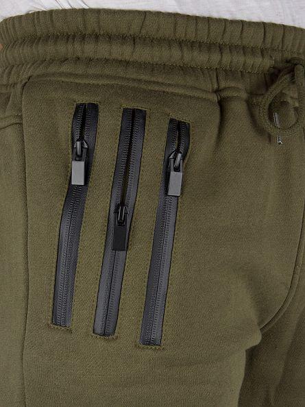 Sixth June Khaki Ripped Zipped Logo Joggers