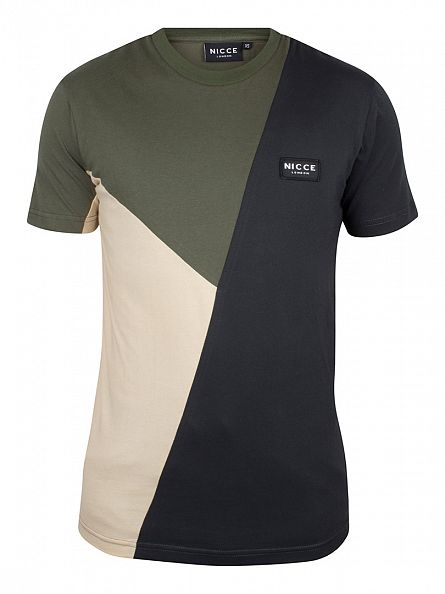 Nicce London Charcoal/Khaki/Sand Segment Logo T-Shirt