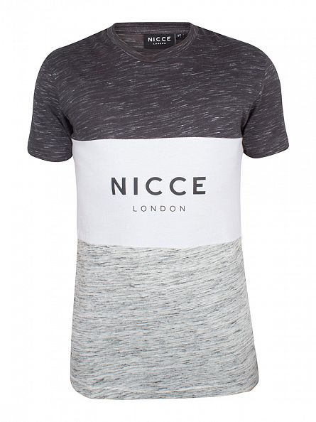 Nicce London Black/Grey/White Triple Panel T-Shirt