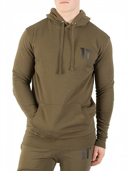 11 Degrees Khaki Core Logo Pull Over Hoodie