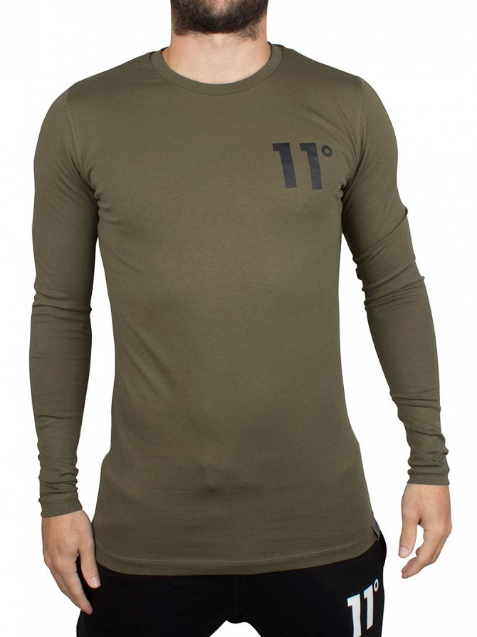 11 Degrees Khaki Longsleeved Core Logo T-Shirt