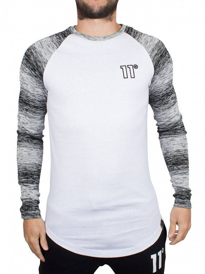11 Degrees Black/White Knit Longsleeved Curved Hem Raglan Logo T-Shirt