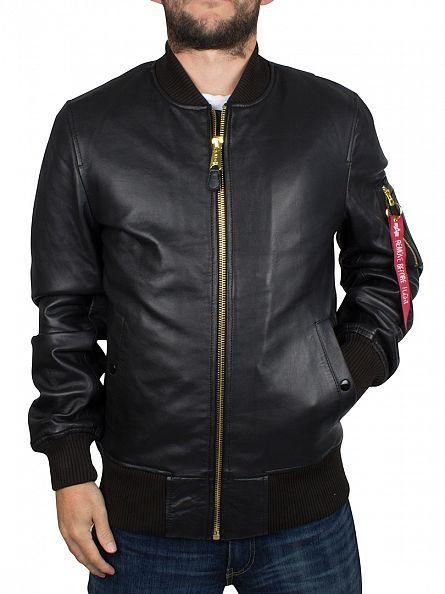 Alpha Industries Black MA-1 VF PM Leather Jacket