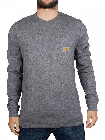 Carhartt WIP Dark Grey Heather Longsleeved Logo Pocket T-Shirt