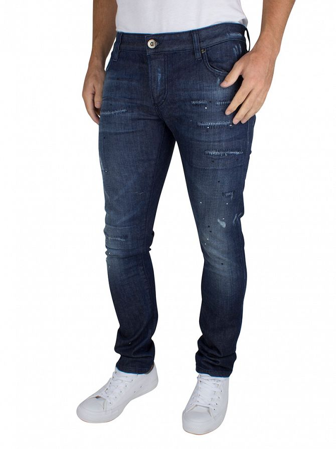 Foray Dark Blue California Ripped Worn Jeans