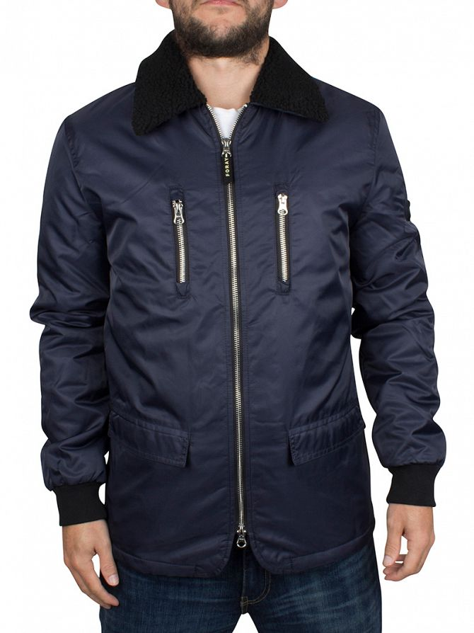 Foray Dark Navy Fur Trim MA2 Bomber Jacket