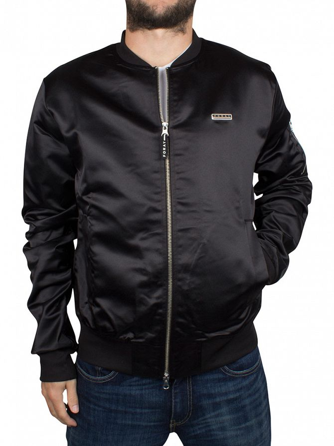 Foray Black Satin Bomber Jacket