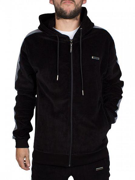 Foray Black Violet Stripe Sleeve Zip Hoodie