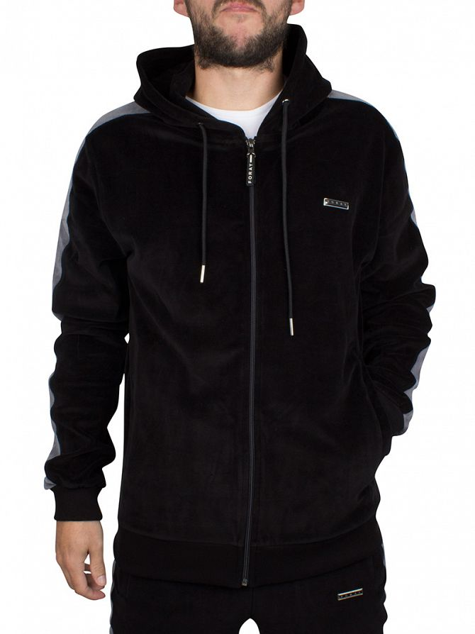 Foray Black Violet Stripe Sleeve Zip Hoodie