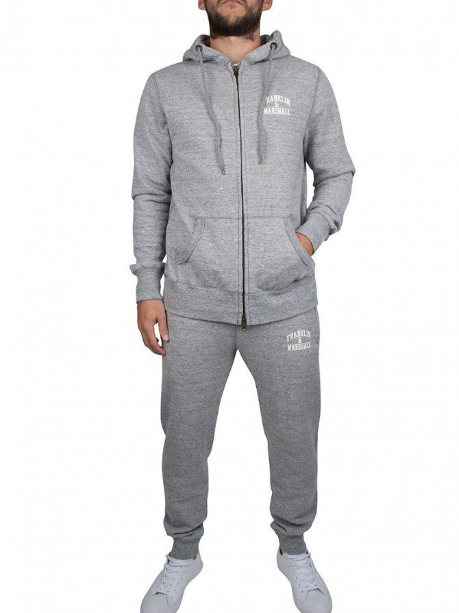 Franklin & Marshall Sport Grey Zip Hoodie Chest Logo Marled Tracksuit