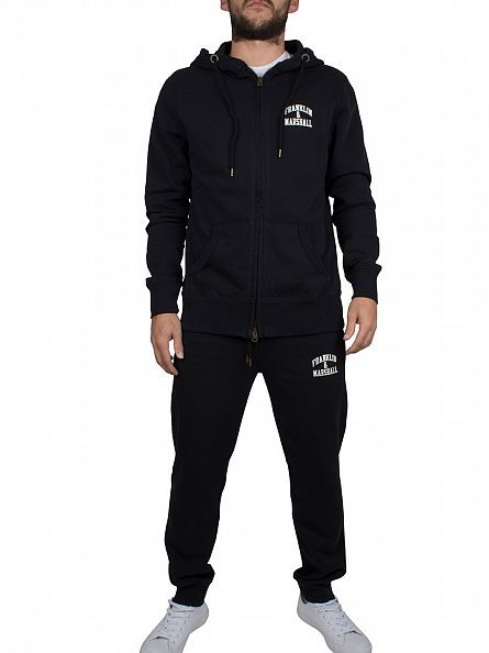 Franklin & Marshall Black Zip Hoodie Chest Logo Tracksuit
