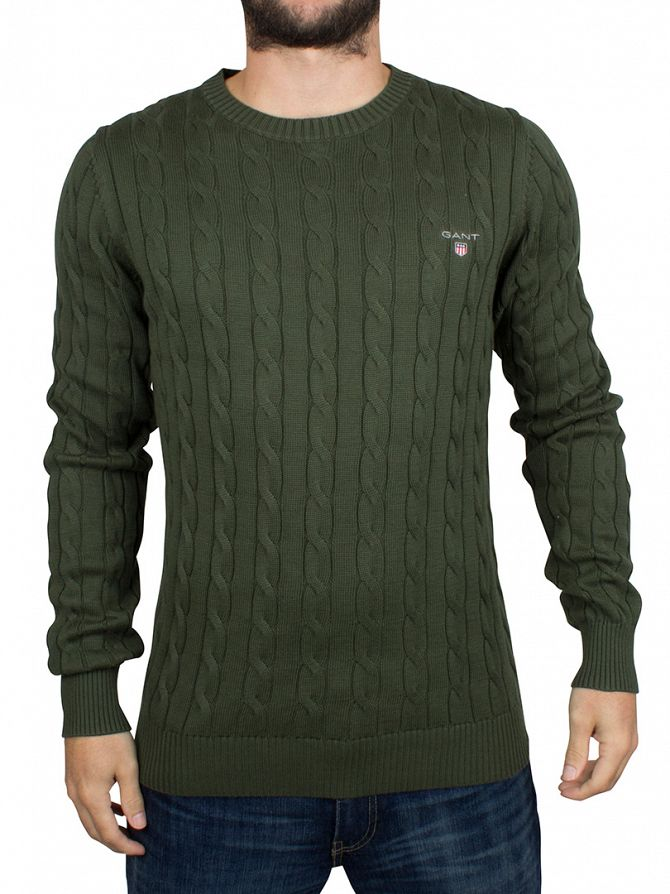 Gant Moss Green Logo Cable Knit