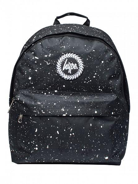 Hype Black/White Script Embroidery Splat Logo Backpack