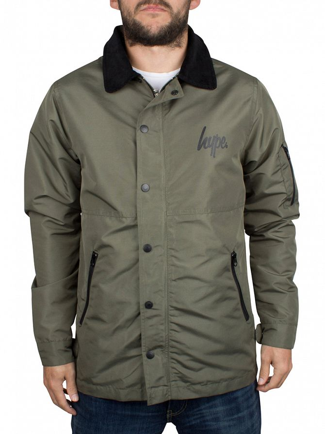 Hype Dark Khaki Script Logo C&S Coach Button Jacket