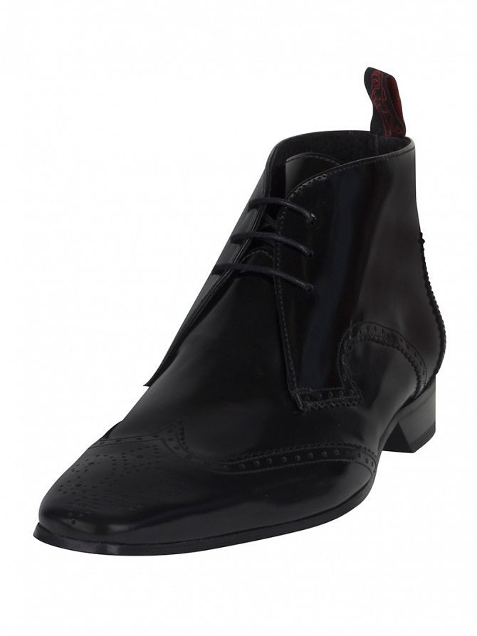 Jeffery West College Black Escoba Black Polished Boots