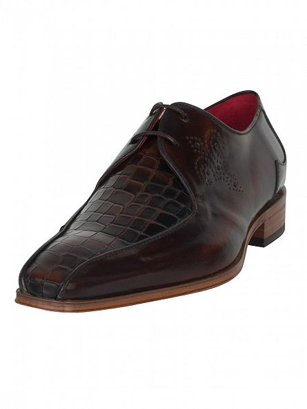 Jeffery West Antick Mid Brown/Dark Brown Scarface Polished Shoes