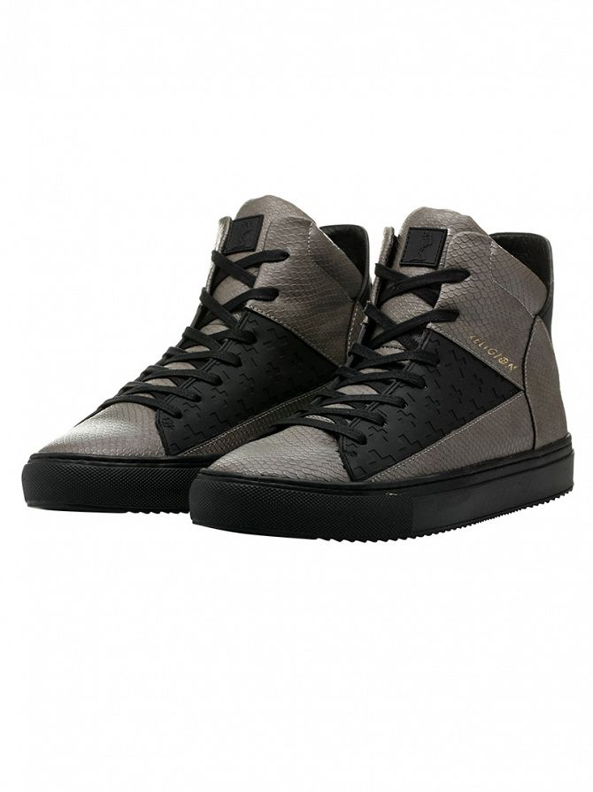 Religion Grey League Hi Snakeskin Trainers