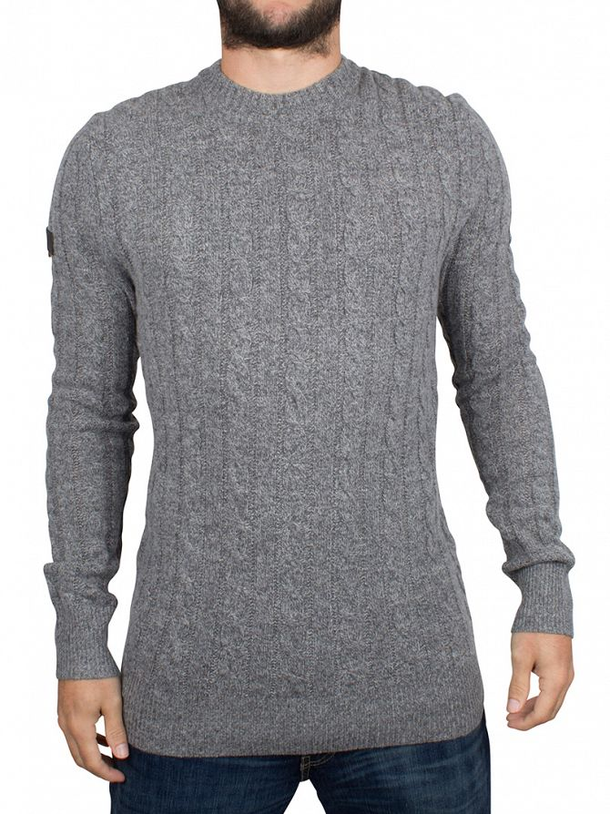 Superdry Grey Twist Harlo Cable Knit