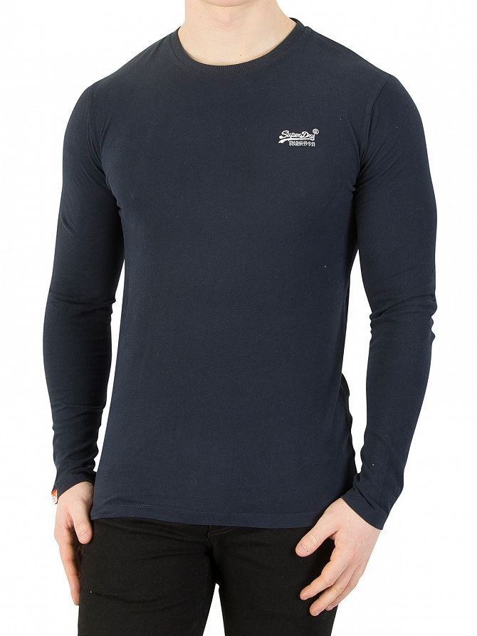 Superdry Eclipse Navy Longsleeved Orange Label Vintage T-Shirt