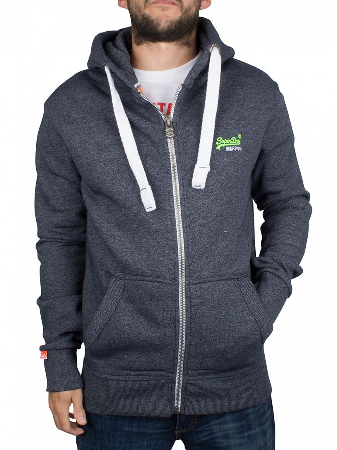 Superdry Navy Grit Orange Label Zip Logo Hoodie