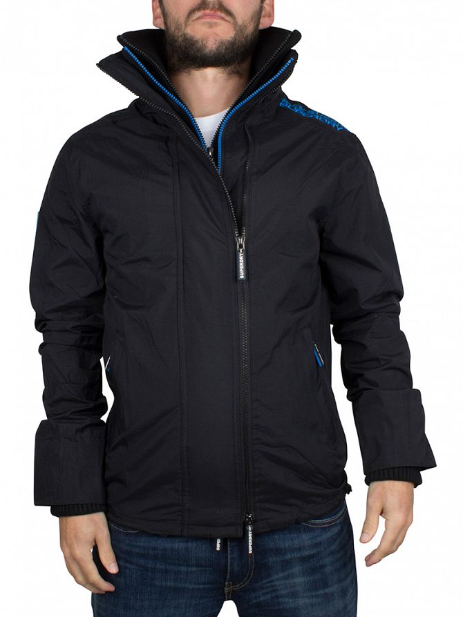 Superdry Black/Denby Blue Technical Pop Zip Windcheater Jacket