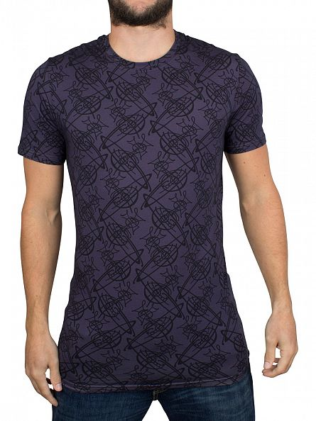 Vivienne Westwood Purple/Black All Over Logo T-Shirt