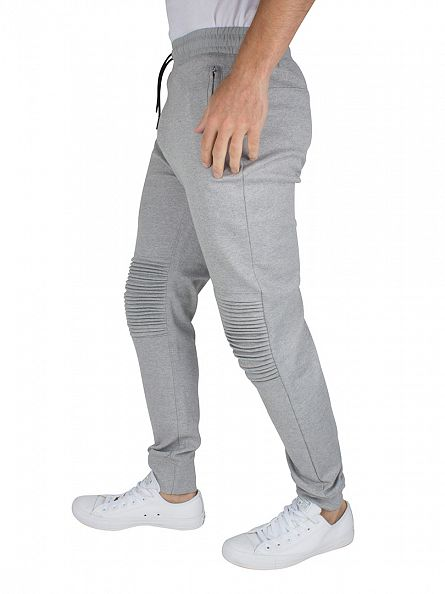 Only & Sons Light Grey Melange Fritz Quilted Logo Joggers