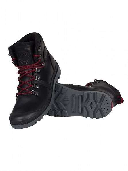 Palladium Black/Red/Castlerock Pallabrouse Hiker Boots