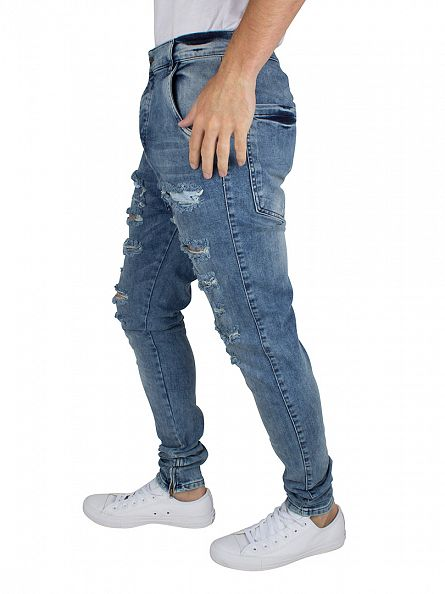 Sik Silk Light Blue Hareem Random Wash Skinny Jeans