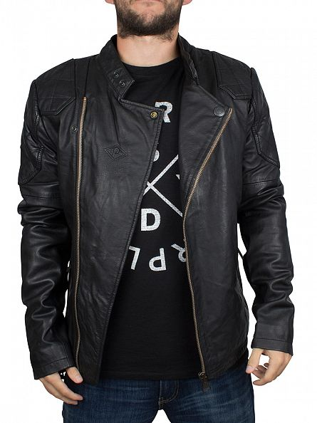 Superdry Black Endurance Leather Indy Jacket
