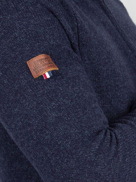 Superdry Dark Indigo/Navy Twist Harlo Henley Zip Knit