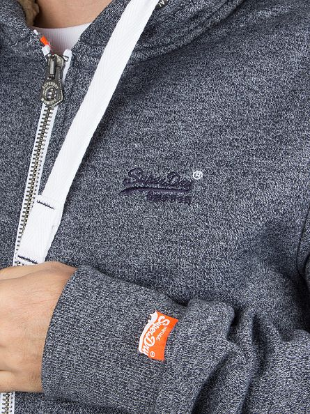 Superdry Navy Mega Grit Logo Heavy Winter Zip Hoodie