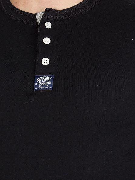 Superdry Black Longsleeved Heritage Grandad T-Shirt