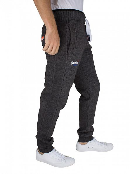 Superdry Low Light Black Grit Orange Label Tipped Joggers