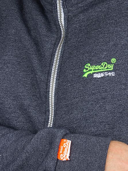 Superdry Navy Grit Orange Label Zip Logo Track Top