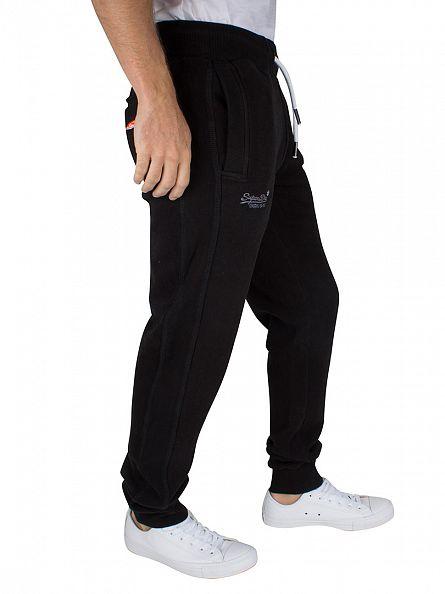 Superdry Jet Black Slim Fit Orange Label Logo Joggers