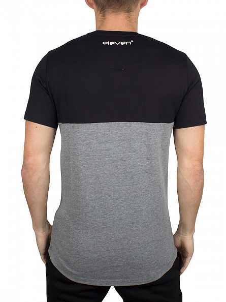 11 Degrees Black/Charcoal Curved Cut And Sew Panel Logo T-Shirt