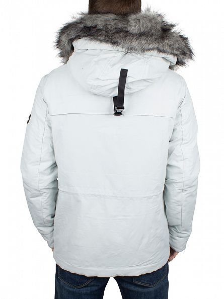 Foray White Arctic Fur Parker Logo Jacket