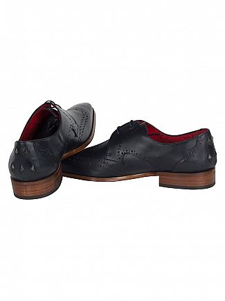 Jeffery West Dark Blue/Charcoal Red Scarface Calf Shoes
