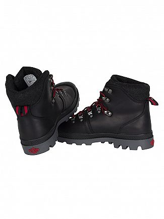 Palladium Black/Red/Castlerock Pallabrouse Hiker Boots