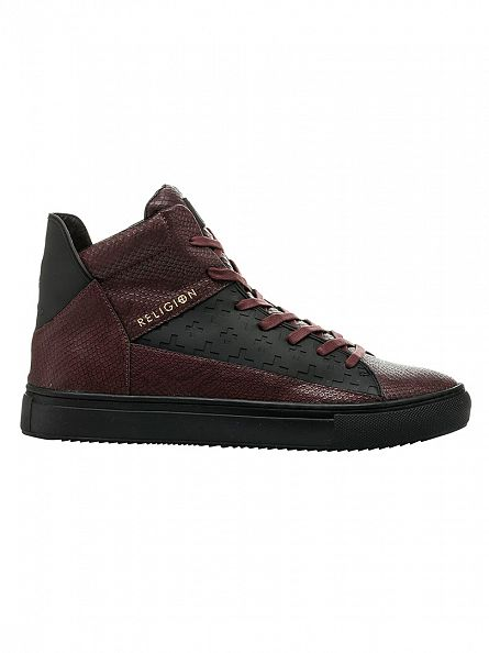 Religion Deep Red League Hi Snakeskin Trainers