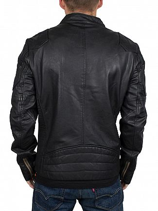 Superdry Black Endurance Leather Indy Jacket