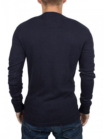 Superdry Eclipse Navy Marl Longsleeved Heritage Grandad T-Shirt