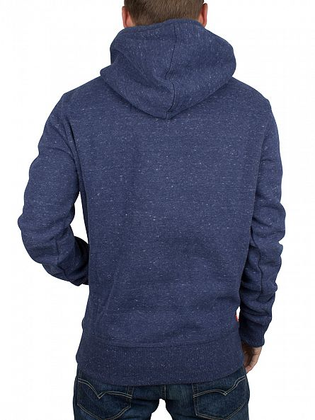 Superdry Nautical Navy Grit Orange Label Flecked Logo Hoodie