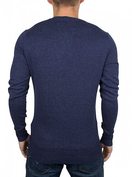 Superdry Dull Navy Orange Label Logo Knit