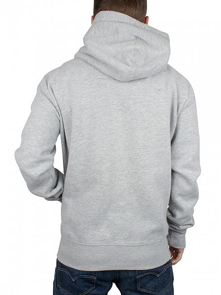 Superdry Grey Marl Orange Label Logo Zip Hoodie