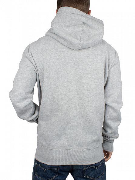 Superdry Grey Marl Orange Label Logo Zip Hoodie
